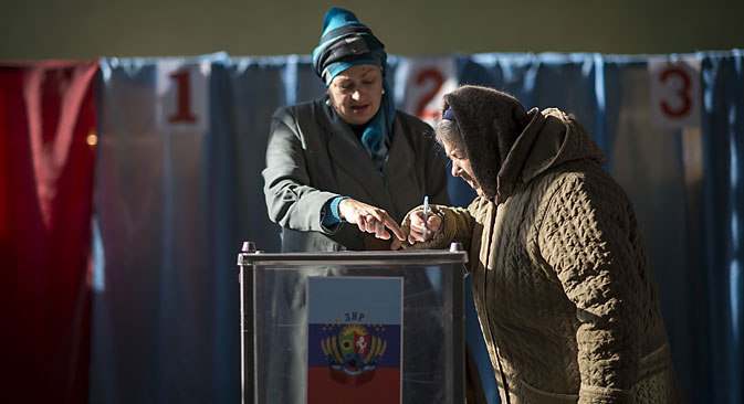 Over 527,000 voters have taken part in the elections of the head and parliament of the self-proclaimed Donetsk People's Republic.Soure: Valeriy Melnikov/RIA Novosti