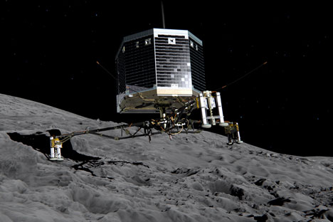 Europe's Rosetta space probe was launched in 2004 with the aim of studying the comet and learning more about the origins of the universe. On Wednesday, Nov. 12, 2014 the Philae lander detached from Rosetta and started it's descent to the 4-kilometer-wide (2.5-mile-wide) 67P/Churyumov-Gerasimenko comet. Source: ESA