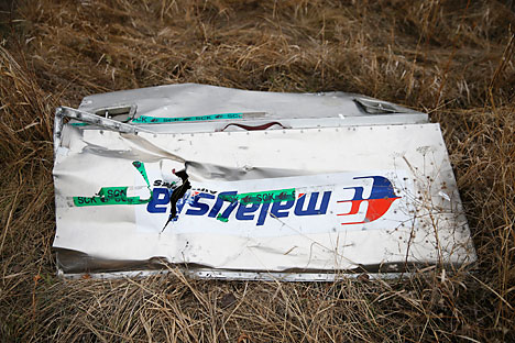 A fragments of the MH-17crashed in the Donetsk Region, Ukraine.