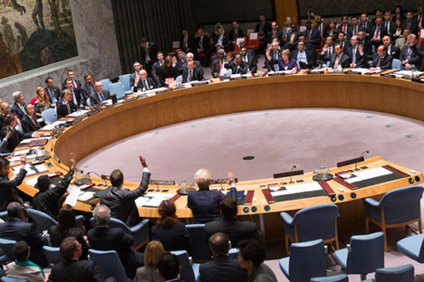 The emergency meeting on Ukraine held by the United Nations Security Council. Source: Reuters
