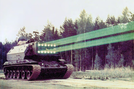 "Laser weapons are based on the use of energy from electromagnetic radiation along the optical spectrum. Pictured: The 1K17 ""Szhatiye"" project which was developed in 1992."