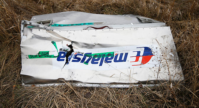 A fragments of the MH-17crashed in the Donetsk Region, Ukraine. Source: Reuters