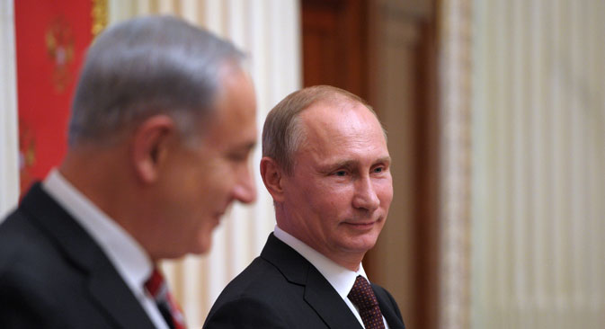 Israeli Prime Minister Benjamin Netanyahu and Russian President Vladimir Putin.Source: RIA Novosti