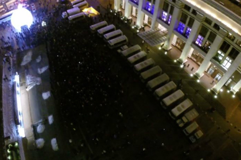 Still from a video shot by a drone at Manezhnaya Square on Dec. 30. Source: Karlsson Project/Vimeo.com