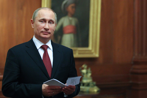 Russian President Vladimir Putin in the Presidential palace in New Delhi during his previous visit to India. December 24, 2012. Source: RIA Novosti