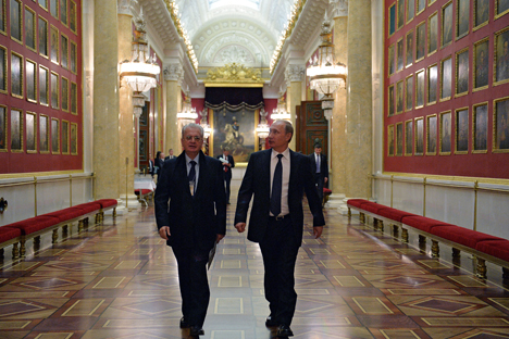 Russian President Vladimir Putin, right, and Director of the State Hermitage Museum Mikhail Piotrovsky during the president's visit to the museum.