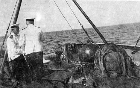 Marinha russa se prepara para treinamento prático de colocação de minas em 1912 Foto: Divulgação