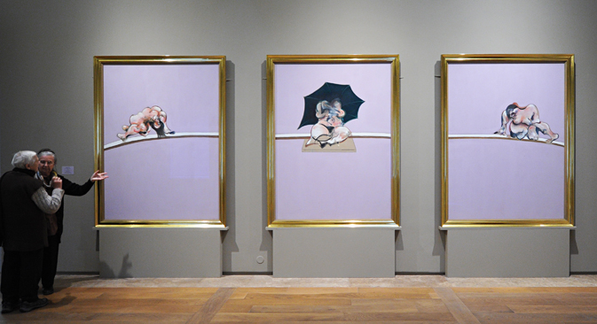 The exhibition of Francis Bacon in the Hermitage: Three Studies of the Human Body. Source: TASS / Yury Belinsky