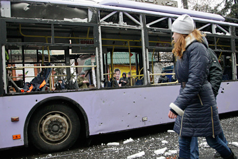 According OBSE, nine people were killed in an explosion near a bus stop in Donetsk. Source: Reuters