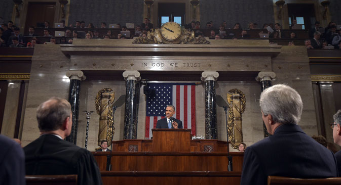 President Barack Obama delivers his State of the Union address to a joint session of Congress on Capitol Hill on Tuesday, Jan. 20, 2015, in Washington. Source: AP