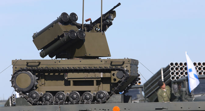 Exercises near Kaliningrad last summer saw the Platform-M combat robot make its debut. Source: Igor Zarembo / RIA Novosti