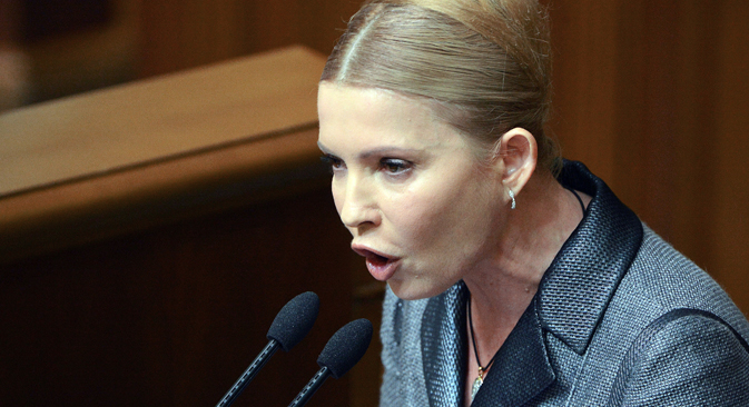 Yulia Timoshenko, Batkivshchina Party leader, attending Ukraine's Supreme Rada meeting. Source:  Evgeny Kotenko / RIA Novosti