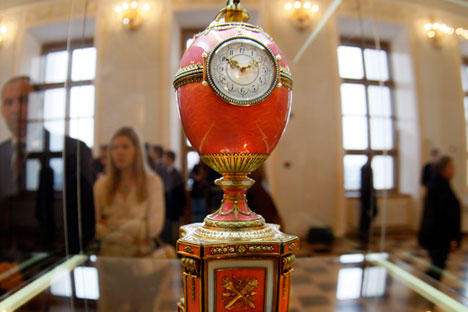 In 2007 when Alexander Ivanov paid £9m at Christie's for a 1902 Fabergé egg made as an engagement gift for Baron Edouard de Rothschild. Source: AP