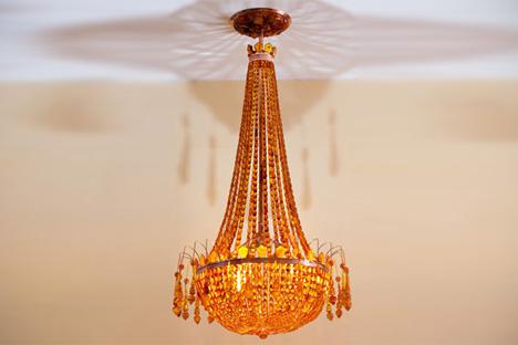 Stalin-era amber chandelier found in storage at Kaliningrad Amber Factory