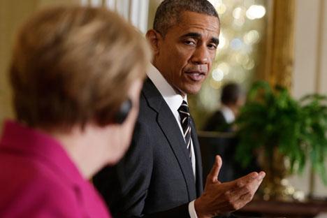 U.S. President Barack Obama meets German Chancellor Angela Merkel in Washington on Feb. 9.Source: Reuters