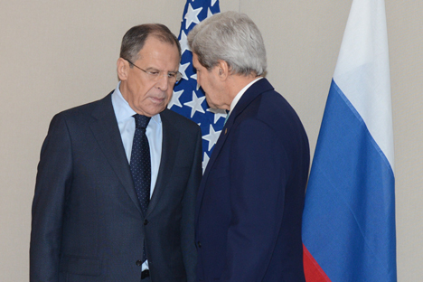 Russian Foreign Minister Sergei Lavrov and U.S. Secretary of State John Kerry in Geneva, March 2. Source: Eduard Pesov / Russian Foreign Ministry