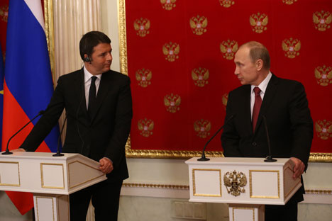 Italian Prime Minister Matteo Renzi (L) during the visit to Moscow. Source: Konstantin Zavrazhin / RG