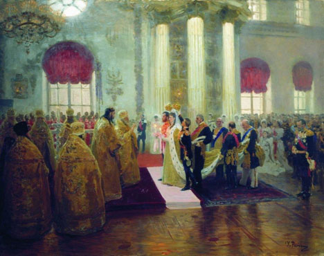 'Wedding of Nicholas II and Alexandra Fyodorovna' by Ilya Repin, 1894. Source: Press photo