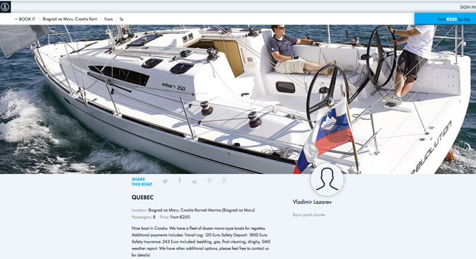 Anchor.Travel charges an average of 2,500 euros to rent a yacht for a week. Source: Screenshot from Anchor.Travel