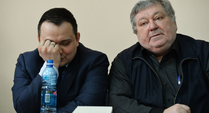 "Right: Boris Mezdrich, Director of the Novosibirsk Opera and Ballet Theater, and his lawyer attend court session hearing the case of Timofei Kulyabin, the stage director of the opera ""Tannhauser."" Source: Alexander Kryazhev / RIA Novosti"