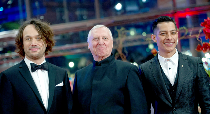 Director Peter Greenaway and actors Luis Alberti (R) and Elmer Back (L) arrive for the screening of the movie 'Eisenstein in Guanajuato' at the 65th Berlinale International Film Festival in Berlin February 11, 2015. Source: Reuters