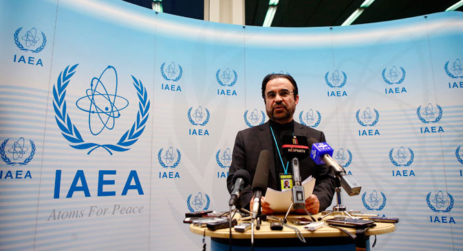Iran's ambassador to the International Atomic Energy Agency (IAEA) Reza Najafi addresses the media after a board of governors meeting at the IAEA headquarters in Vienna March 4, 2015. Source: Reuters