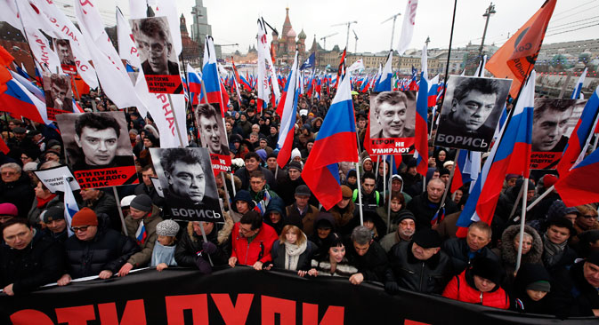 Up to 70,000 people attended a mourning march commemorating slain politician and Kremlin critic Boris Nemtsov. Nemtsov was shot and killed while walking on the Bolshoi Moskvoretsky Bridge near the Kremlin at approximately 11:30 p.m. on Feb. 27. Source: Reuters