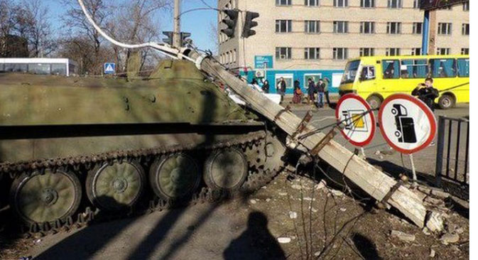 Ukrainian Army armored personnel vehicle struck and killed an eight-year-old girl in the town of Konstantinovka. Source: Press Photo