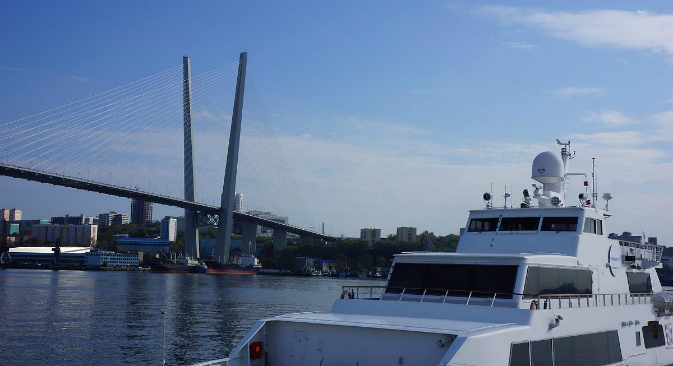 The view of the bridge over the Golden Horn bay in Vladivostok.