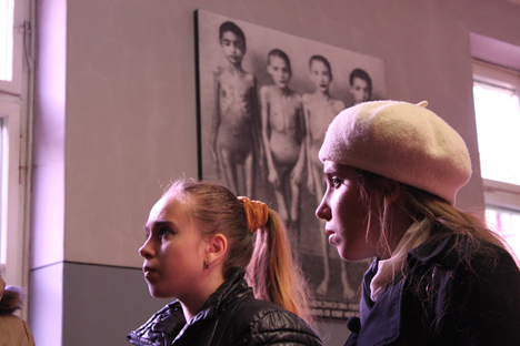 The twins Ksenia and Evgenia Karatigina thought that the holocaust was a glue for wallpaper. Source: Press photo