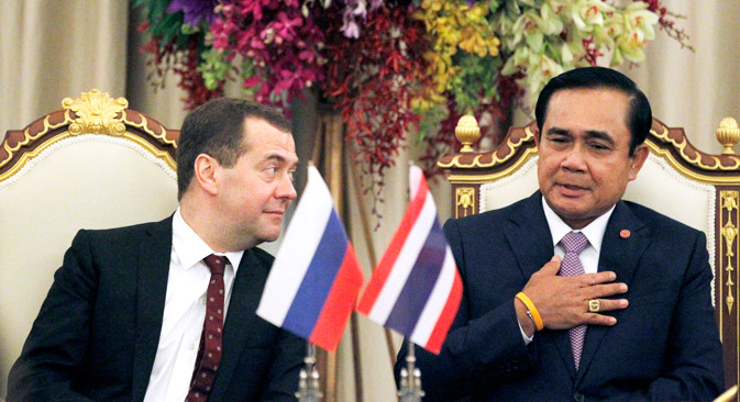 Russian Prime Minister Dmitry Medvedev and Prime Minister of Thailand Prayuth Chan-o-Cha. Source: AP