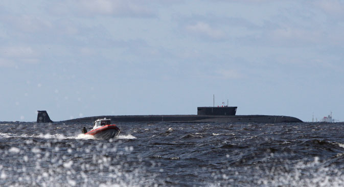 A new Russian nuclear submarine, Yuri Dolgoruky, is seen during sea trials near Arkhangelsk, Russia.Source: AP