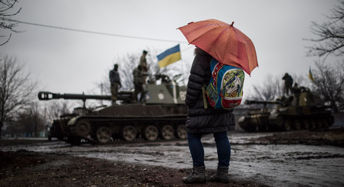 Dampening  tension:  the Minsk  agreement  saw the  removal of heavy  weapons from the front line. Source: AP