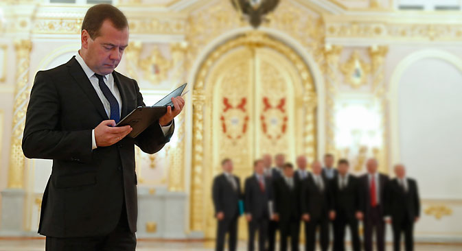 "Dmitry Medvedev: ""Nothing terrible is going on here. On the contrary, it testifies to the high quality of work and mutual understanding."" Source: Dmitry Astakhov / TASS"