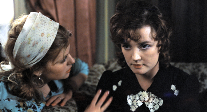 "Still from the 1979 film ""Moscow Doesn't Believe in Tears"" directed by Vladimir Menshov. Screenplay by Valentin Chernykh. Starring Irina Muravyova as Lyudmila, left, and Vera Alentova as Katerina, right. This became the third Soviet film to win an Academy Award for Best Foreign Language Film in 1980. Source: RIA Novosti"
