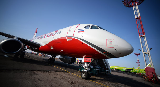 Sukhoi Superject 100 (SSJ-100) at the Domodedovo airport, Moscow Region, on Feb.26, 2015. Source: Ramil Sitdikov / RIA Novosti