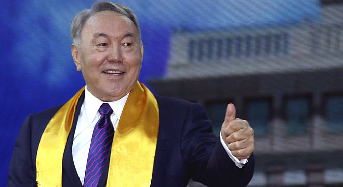 Nursultan Nazarbayev during a concert in Astana celebrating his victory in the Kazakh presidential election. Source: Reuters