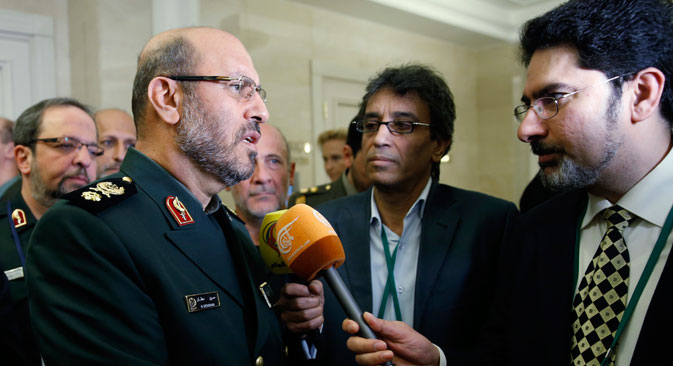 Iran's defense minister Hossein Dehghan (L front) talks to journalists at the 4th Moscow Conference on International Security (MCIS). Source: Mikhail Japaridze / TASS