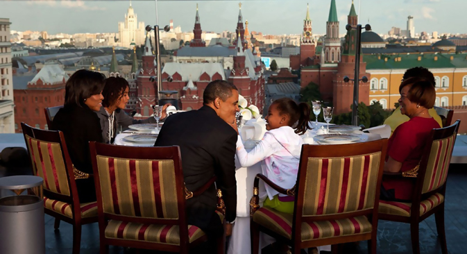 U.S. President Barack Obama with his family during his visit to Moscow in July, 2009. Source: White House / Pete Souza