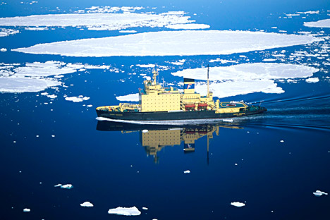 The laser works like a glass-cutting tool, making incisions in the ice in front of an icebreaker to facilitate the passage of the vessel. Source: DPA / Vostock-Photo