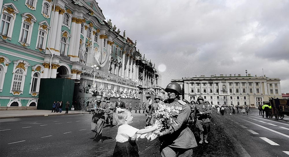 Leningrad, (now St Petersburg), 1945-2013. Meeting of Soviet soldiers on Palace Square. Source: Sergei Larenkov