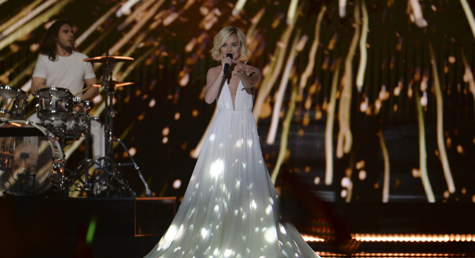 Polina Gagarina performs the song 'A Million Voices' during the Eurovision Song Contest in Vienna. Source: AP