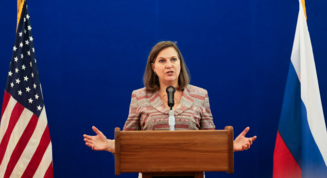 Victoria Nuland delivers a speech during a press conference, at the Spasso House - residence of the U.S. Ambassador to Russia in Moscow, on May 18, 2015. Source: AP