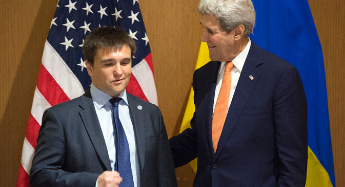 U.S. Secretary of State John Kerry meets with Ukrainian Foreign Minister Pavlo Klimkin during the NATO Foreign Minister's Meeting in Antalya, on May 13. Source: AP