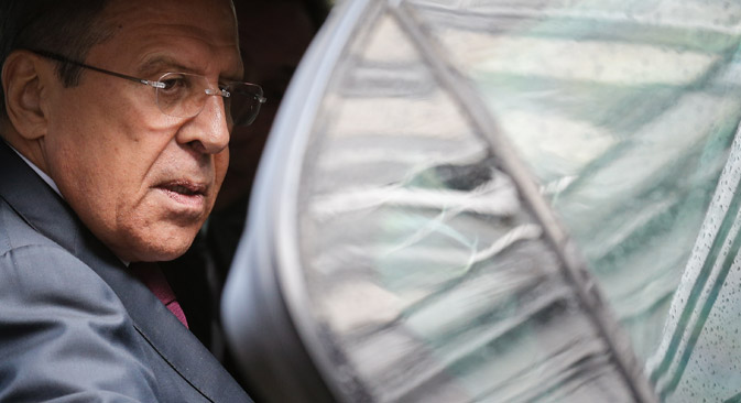 Russian Foreign Relations Minister Sergei Lavrov in Brussels, May 19. Source: EPA