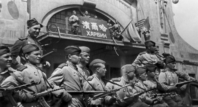 Soviet-Japanese War, 1945. Soviet soldiers in Harbin. Source: Alexander Stanovov / TASS Photochronicle