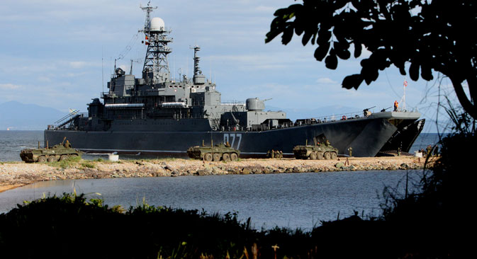 It is not clear whether the Russian amphibious assault ship Peresvet will take part in the Asia-Pacific exercises. Source: RIA Novosti