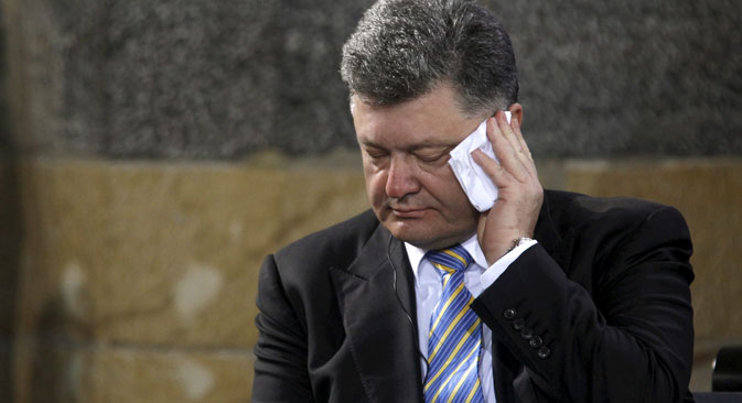 "Ukrainian President Petro Poroshenko accused Russia of waging a ""real war."" Source: Reuters"