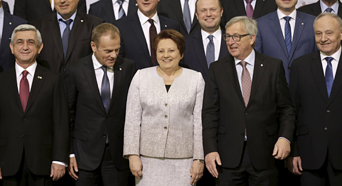 Heads of states and EU officials before the Eastern Partnership Summit session in Riga, May 22. Source: Reuters