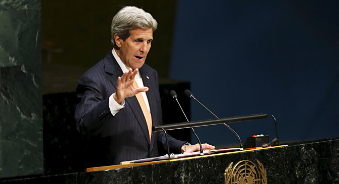 U.S. Secretary of State John Kerry addresses the Opening Meeting of the 2015 Review Conference of the Parties to the Treaty on the Non-Proliferation of Nuclear Weapons at UN headquarters in New York, April 27. Source: Reuters